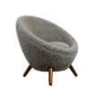 CHRROYEREFLGRY - Royere replica fluffy grey