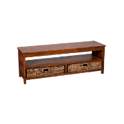 Solar Entertainment Cabinet Brown 2 Dr Mango Wood 717