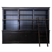 Hamptons Ebony Library 3 Bays Black SDF53 - Black