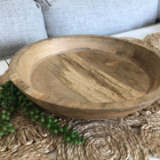 Round Mango Wood Fruit Bowl 30x7cm KW1217