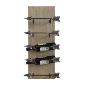 Fir & Metal Wall Wine Rack Arrow Shaped Holders DA6810