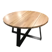 Rome Solid Ash Round Dining Table with Metal Legs 140cm SDF154