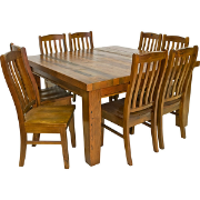 Longreach 150x150 Dining Suite 8 Pine Nicholson Dining Chairs