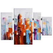 Canvas  Abstract colour 4 Panel 109x80x3.5 12746T