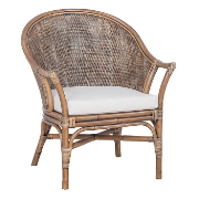 Ember Rattan Blackwash Chair With Seat Cushion 2123