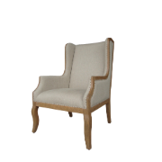 Melania High Back Arm Chair Oak with Brass Nails 2379