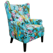 Shirley Wing Chair Peacock Fabric with Piping 2368-1