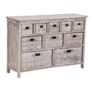 Solar Buffet 10 Drawers White Wash 7006 Split Kubu