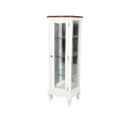 French Provincial 1Dr 3 Shelf Glass Display Cabinet MA1790SWHT
