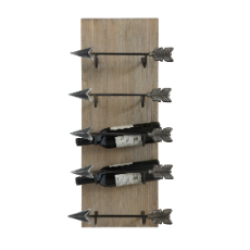 Fir & metal wall wine rack