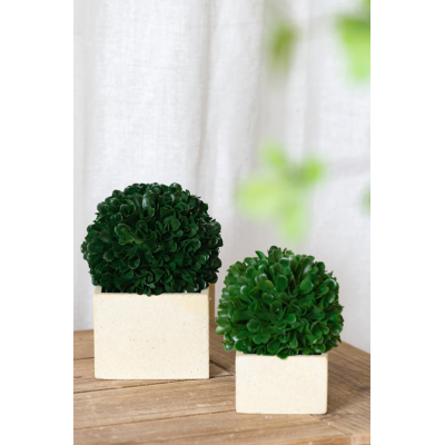 Faux boxwood boxed topiary