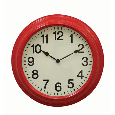 Metal wall clock red