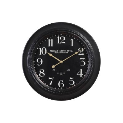 Metal wall clock black 50x5cm