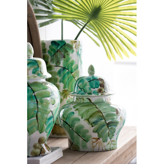 Round green leaf jar short